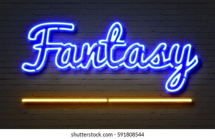 Fantasy neon sign on brick wall background