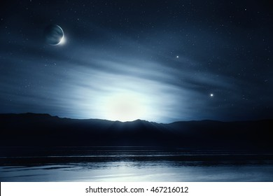Fantasy night sky lake reflection dreamy landscape - 3D illustration
