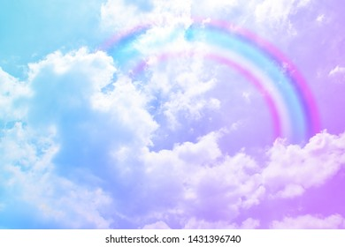 Fantasy over the rainbow on sky abstract with a pastel colored background and wallpaper.