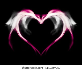 Fantasy pink fire heart with wings, on black isolated background.
