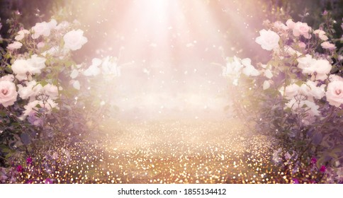 Fantasy pink Roses Flowers bloom and Road leads forward in Fabulous mystical Paradise Garden, mysterious Fairy Tale Summer floral Background with glowing sun Rays, amazing Heaven Nature Landscape - Shutterstock ID 1855134412