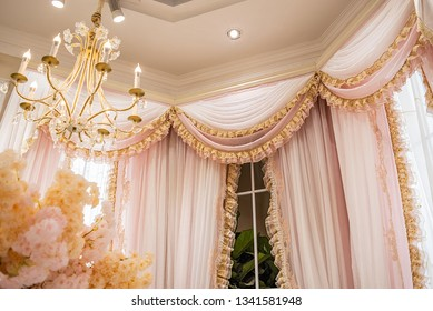 Fantasy Pink Ruffled Yarn Curtains and Crystal Chandeliers