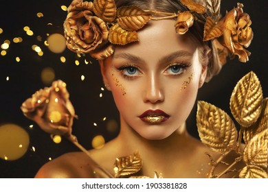 Fantasy portrait closeup woman with golden skin, lips, body. Girl in glamour wreath gold roses, accessories jewellery, jewelry. Beautiful face, steel glitter makeup. Elf fairy princess. Fashion model