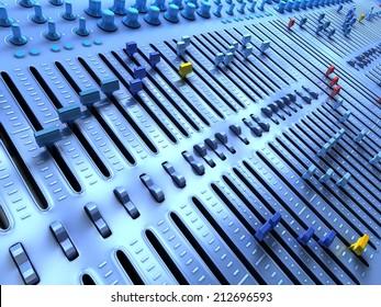 Fantasy Professional mixing console in studio. 3d illustration