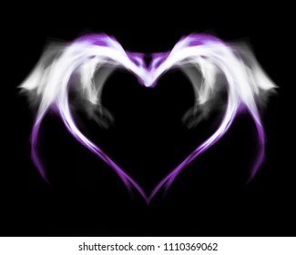 Fantasy purple fire heart with wings, on black isolated background.