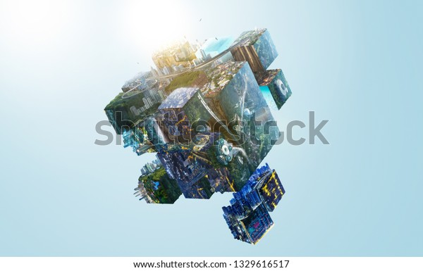 Fantasy puzzle cube of city and landscapes floating in the air , smart and creative city  global concept . Mixed media