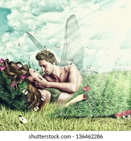 Fantasy romantic collage. Loving fairy couple with wings lying in a bed of grass on meadow outdoor in summer. Tender Lovers