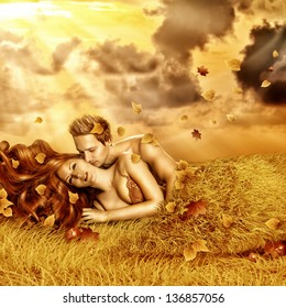 Fantasy romantic collage. Loving fairy couple  lying in bed of yellow grass, leaves outdoor in autumn sunset. Tender Lovers have sex