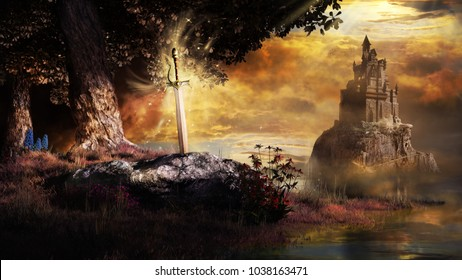 Fantasy scene with castle, trees and sword. 3D illustration.