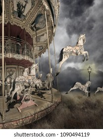 Fantasy scene of horses jumping off carousel and running away into the night