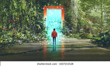 fantasy scenery showing the boy standing in front of the magic gate with glowing blue light in beautiful forest, digital art style, illustration painting