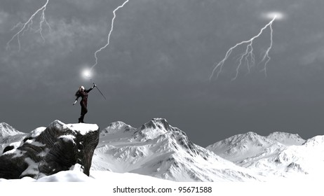 Fantasy sorceress on a rocky mountain summoning a lightning storm, 3d digitally rendered illustration