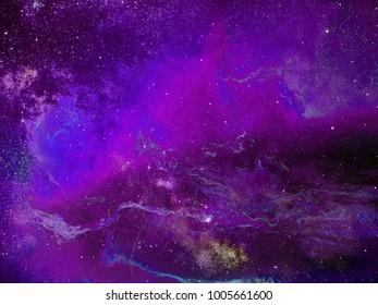 Fantasy space scene. Vibrant night sky with stars and nebula.
