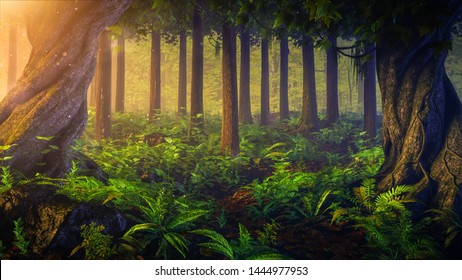 Fantasy sunset、 sunrise landscape at mystical tropical misty forest with tropical jungle plants. Mysterious nature and fairy tale background.