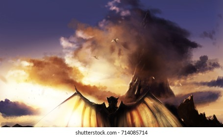 Fantasy sunset landscape with mountains & demons. Illustration of a sunset mountain landscape with flying and standing demons with wings.