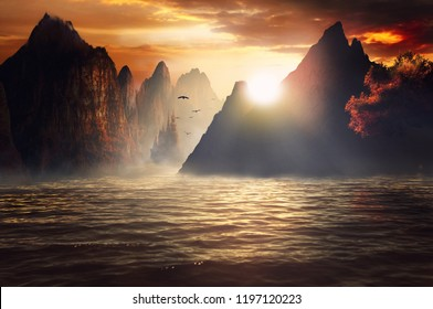 fantasy sunset of mountain and castle