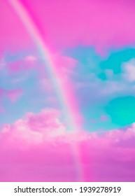 Fantasy Einhornplatz Dreamer Tapete. Regenbogen und Himmel. rosafarbene Süßigkeiten