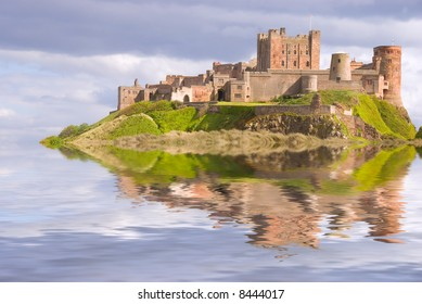 Fantasy view of Bamburgh Castle surrounded by water
