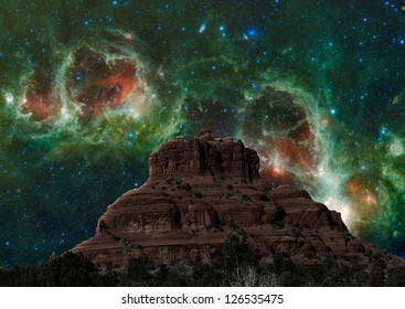Fantasy view of Bell Rock at night. Elements of this image furnished by NASA.