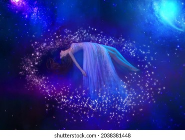 Fantasy woman lies levitating in space. Abstract artistic multicolor dimensional galactic nebula, stars, planets. Goddess girl is meditating. Art fairy tale sleeping beauty. Vintage dress fly in air