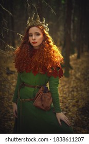 Fantasy world. Beautiful red-haired princess in a deep forest. Ancient times. Celts.
