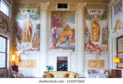 Fanzolo Di Vedelago , Italy - May 8, 2011:  Fresco paintings by Battista Zelotti  in Villa Emo halls, architect Andrea Palladio.