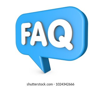 FAQ 3d speech bubble isolated on white background.