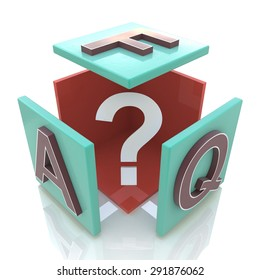 Faq abstract cube 3d illustration isolated on white