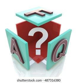 faq cube in the design of information related to internet. 3d illustration