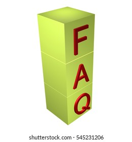Faq cubes 3d render illustration isolated on white
