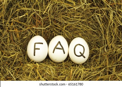 faq or frequently asked questions internet concept with eggs