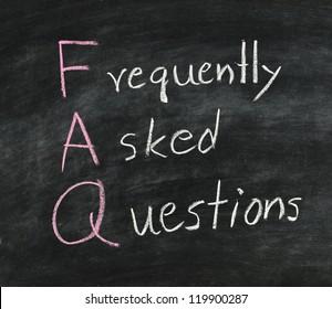 FAQ ,Hand writing with white chalk on blackboard.