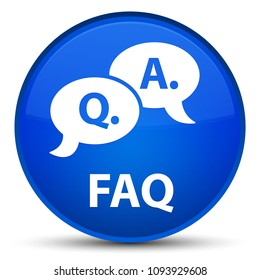 Faq (question answer bubble icon) isolated on special blue round button abstract illustration