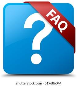 Faq (question icon) cyan blue square button