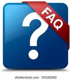 Faq (question icon) glossy blue square button