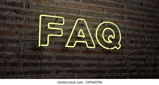 FAQ -Realistic Neon Sign on Brick Wall background - 3D rendered royalty free stock image. Can be used for online banner ads and direct mailers.