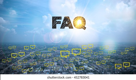 FAQ text on city and sky background with bubble chat ,business analysis and strategy as concept