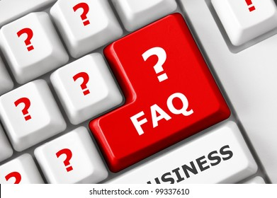 FAQ text and question symbols on the modern keyboard. Frequently asked question concept