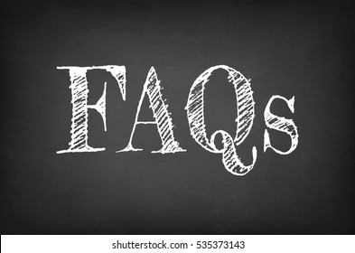 FAQs - Frequently Asked Questions text on the blackboard