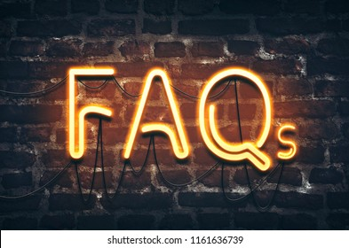 FAQs neon sign on dark brick wall background
