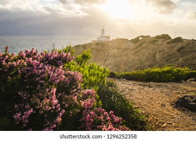 Far de Capdepera lighthouse on the island of Mallorca, Spain, on a beautiful windy sunshine morning