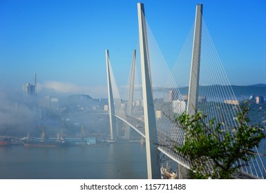 Far East of Russia, the city of Vladivostok. Port, sea, ships, islands, bridges.
