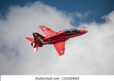 FAR Fairford, UK - July 14th 2018: RAF Red Arrows