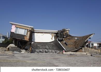 FAR ROCKAWAY, NEW YORK - NOVEMBER 11, 2012: Destroyed beach house in the aftermath of Hurricane Sandy in Far Rockaway, New York. Image taken 12 days after Superstorm Sandy hit New York