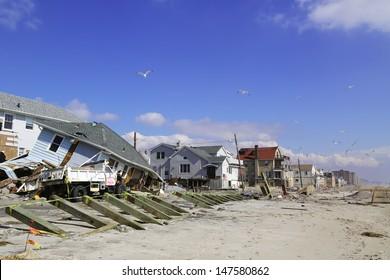 FAR ROCKAWAY, NY - FEBRUARY 28: Destroyed beach houses four months after  Hurricane Sandy on February 28, 2013 in Far Rockaway, NY
