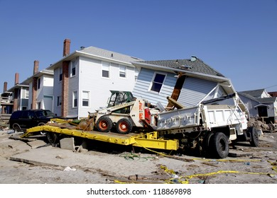 FAR ROCKAWAY, NY - NOVEMBER 11: Destroyed beach house and truck in the aftermath of Hurricane Sandy on November 11, 2012 in Far Rockaway, NY