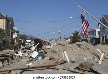 FAR ROCKAWAY, NY - NOVEMBER 11: Destroyed beach house in the aftermath of Hurricane Sandy on November 11, 2012 in Far Rockaway, NY. Image taken 12 days after Superstorm Sandy hit New York