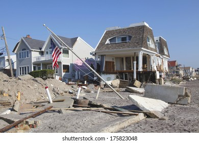 FAR ROCKAWAY, NY - NOVEMBER 11: Destroyed beach houses in the aftermath of Hurricane Sandy on November 11, 2012 in Far Rockaway, NY. Image taken 12 days after Superstorm Sandy hit New York