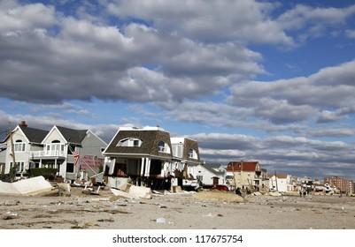 FAR ROCKAWAY, NY - NOVEMBER 4: Destroyed beach houses in the aftermath of Hurricane Sandy on November 4, 2012 in Far Rockaway, NY