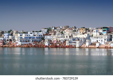 A far view of pushkar lake - a well known pilgrimage center for hindu pilgrims at Pushkar, Rajasthan